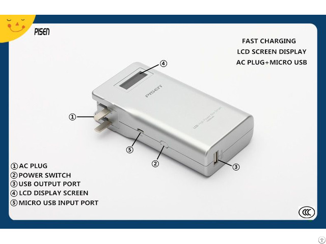Ccc Certificate Fast Charging Smart Pisen Power Bank 10000mah With Ac Plug Lcd Display