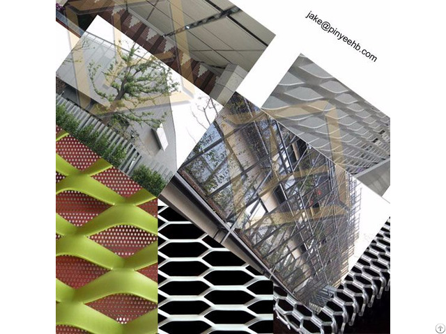 Facade Wall Curtain Material Aluminum Expanded Metal Mesh