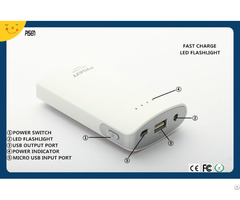 Ce Fcc Rohs Certificate Fast Charing Led Flashlight Pisen Power Bank 7500mah