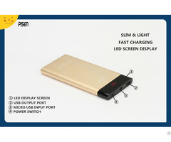 Led Slim Pisen Power Bank 10000mah Display For Mobile Phone Tablet Pc