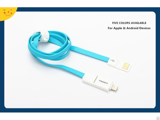 Pisen 800mm Noodle Charging Data Cable For Apple And Android Devices