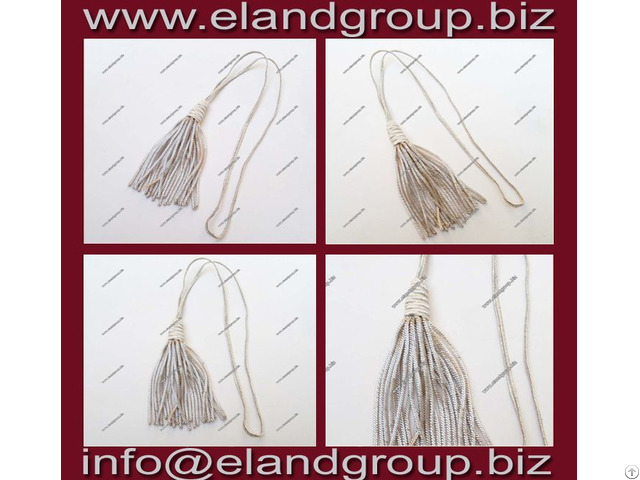 Silver Bullion Wire Tassels