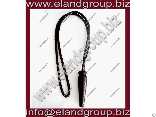 Dark Brown Braided Leather Sword Knot