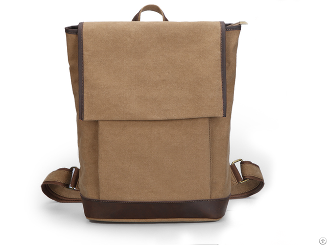Men S Leather Canvas Vintage Brown Shoulder Backpack With Iso 9001 2008