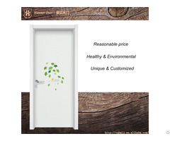 Wooden Entrance Double Door With Green Tree Decorative Design