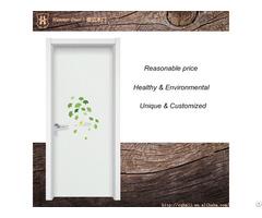 Wooden Entrance Double Door With Green Tree Decorative Design