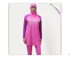 Female Pink And Purple Floral Muslim Swimwear