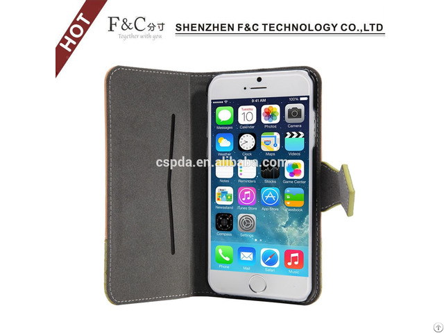 New Premium Mobile Leather Flip Wallet Case For Iphone 6 With Phone Holster
