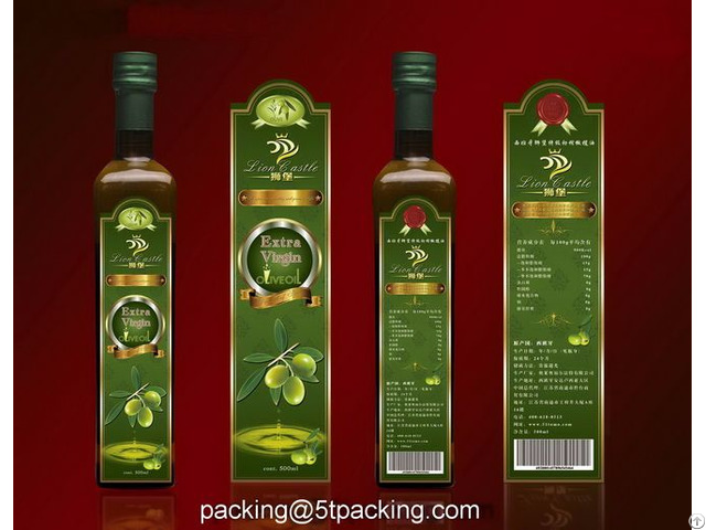 Naturally Plastic Adhesive Labels For Bottled Green Olive Oil