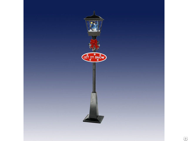 Single Snowing Street Lamp With Snowman Inside