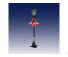 Single Snowing Street Lamp With Snowman Inside
