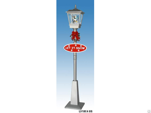 Lv180x Ss Single Snowing Street Lamp With Snowman Inside