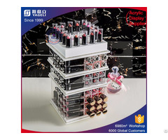 Spinning Acrylic Makeup Organizer Colored Lucite Cosmetics Storage Box
