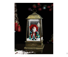 Tabletop Hanging Snowing Lantern With Santa Inside