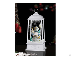 Tabletop Hanging Snowing Lantern With Snowman Inside