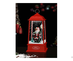 Tabletop Hanging Snowing Lantern With Santa Claus Inside
