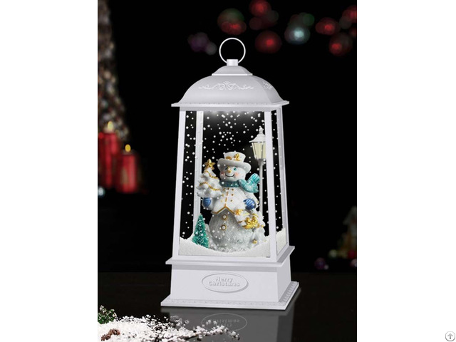 New Tabletop Hanging Snowing Lantern With Snowman Inside