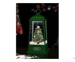 Xmas Tabletop Hanging Snowing Lantern With Tree Inside