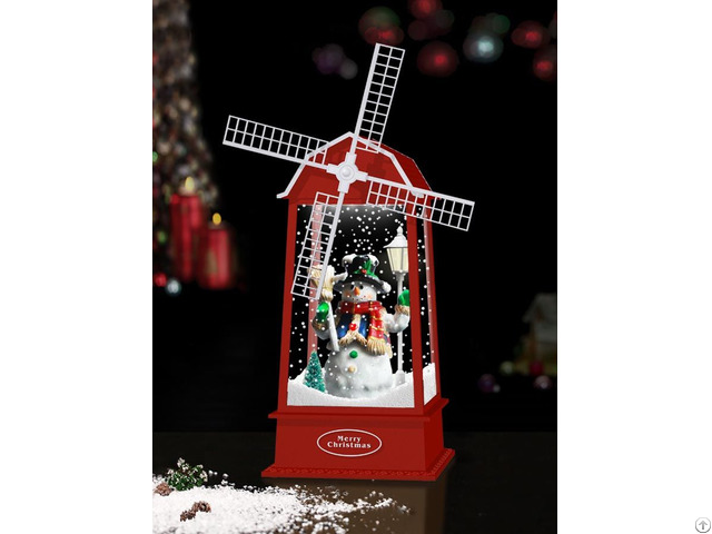 Xmas New Snowing Windmill Lantern With Snowman Inside