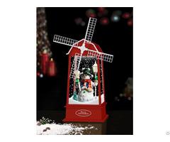 Xmas New Snowing Windmill Lantern With Snowman Inside