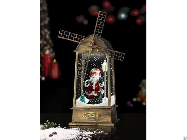 New Snowing Windmill Lantern With Santa Claus Inside Copper