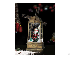 Snowing Windmill Lantern With Santa Claus Inside Copper
