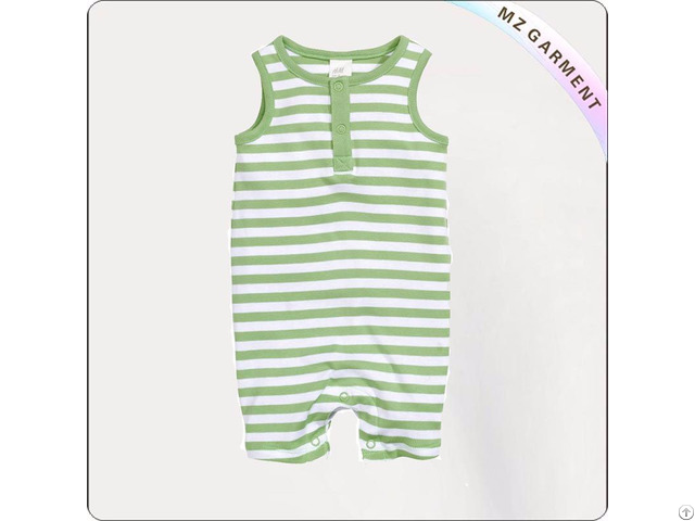 Green Striped Sleeveless Romper
