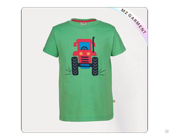 Wheels Applique Tractor Printed Tee