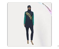 Yellow And Black Long Sleeve Muslim Swimwear