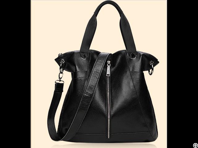 Latest Hot Selling Black Gennine Leather Lady Handbag
