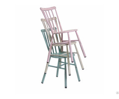Steel Frame Antique Stackable Restaurant Armless Dining Chair
