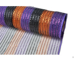"21"" 10y Purple Orange Black Stripe Christmas Decorative Mesh For 70c09i12i20x20"