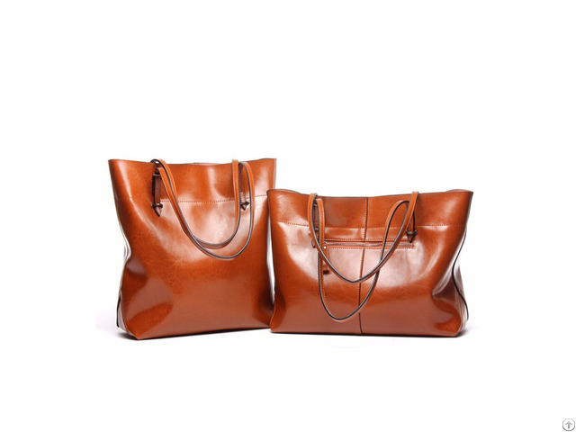 Medium Size Tan Tote Leather Bag