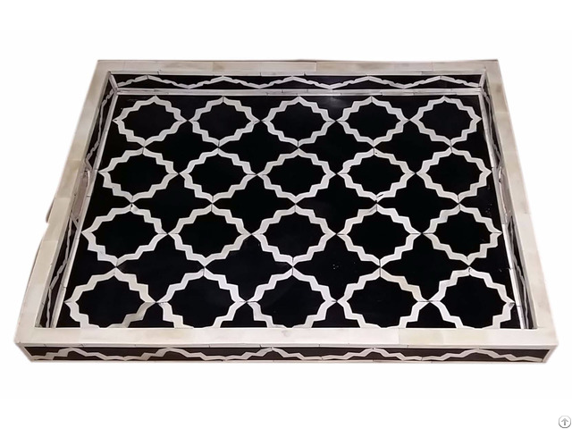 Bone Tray Black Resin Large Mugal Jali Pattern