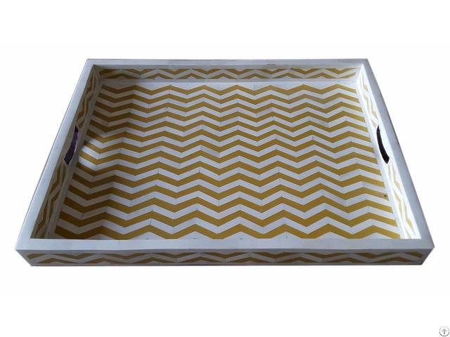 Bone Tray Yellow Resin Zig Zag Pattern