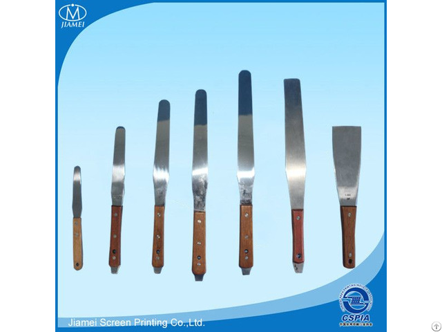 Stainless Steel Spatula With Wooden Handle For Screen Printing