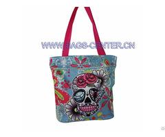 Skull Twill Fabric Handbags