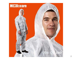 Hooded Boiler Suit Non Woven Tyvek Coverall Type 3 4 5 Disposable Pp White Protective Work Coveralls