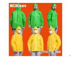 Non Woven Hooded Jacket Disposable Costume Laboratory Lab Jackets