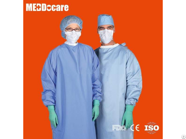 Hospital Medical Sterilized Scrub Surgeon Gown Disposable Cloth Surgical Gowns With Velcro Back