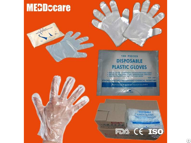 Transparent Clear Smooth Embossed Plastic Disposable Cpe Pe Hdpe Ldpe Gloves