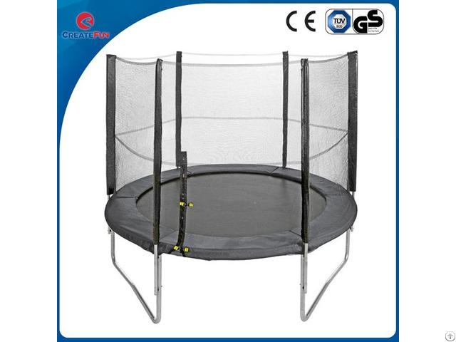 Createfun 12ft Fiber Glass Fitness Round Trampoline With Safety Net