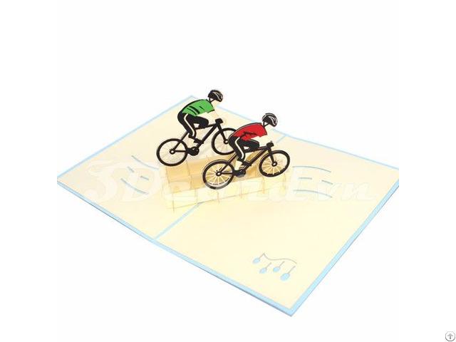 Cyclist 3d Pop Up Sport Card