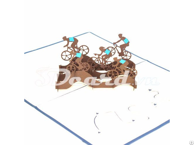 Cyclist Team 3d Pop Up Greeting Card