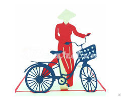 Girl And Bicycle 2 3d Pop Up Card