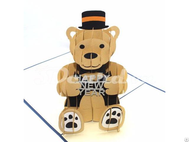 Bear Happy New Year 3d Pop Up Card