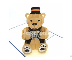 Bear Happy New Year 3d Pop Up Card