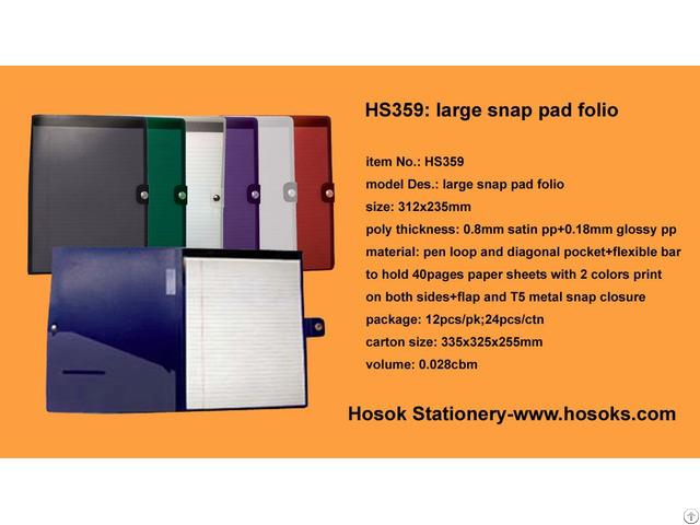 Hs359 Large Snap Pad Folio
