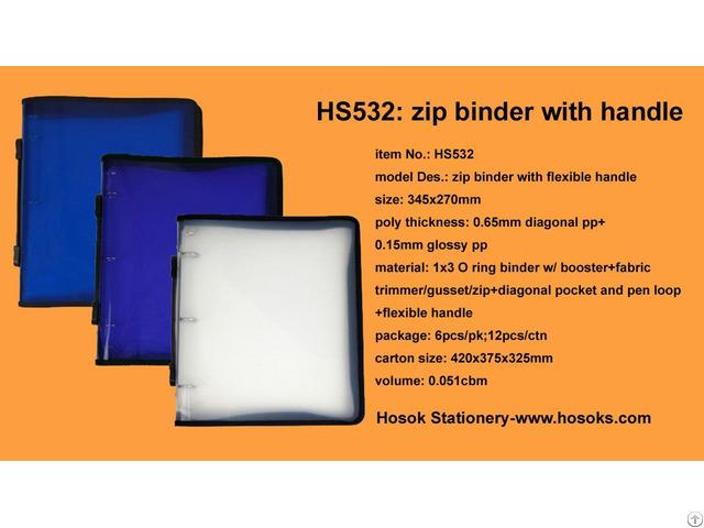 Hs532 Zip Binder With Flexible Handle