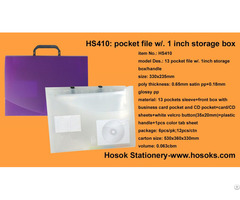 Hs410 13 Pocket File W 1inch Storage Box Handle